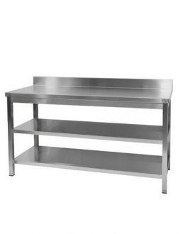 Nerūdijančio plieno stalas su dviem lentynomis