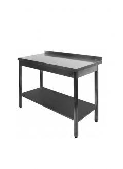 Nerūdijančio plieno stalas su viena lentyna